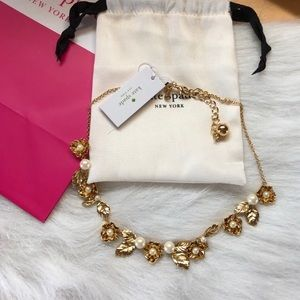 Kate Spade Lavish Blooms Gold Statement Necklace